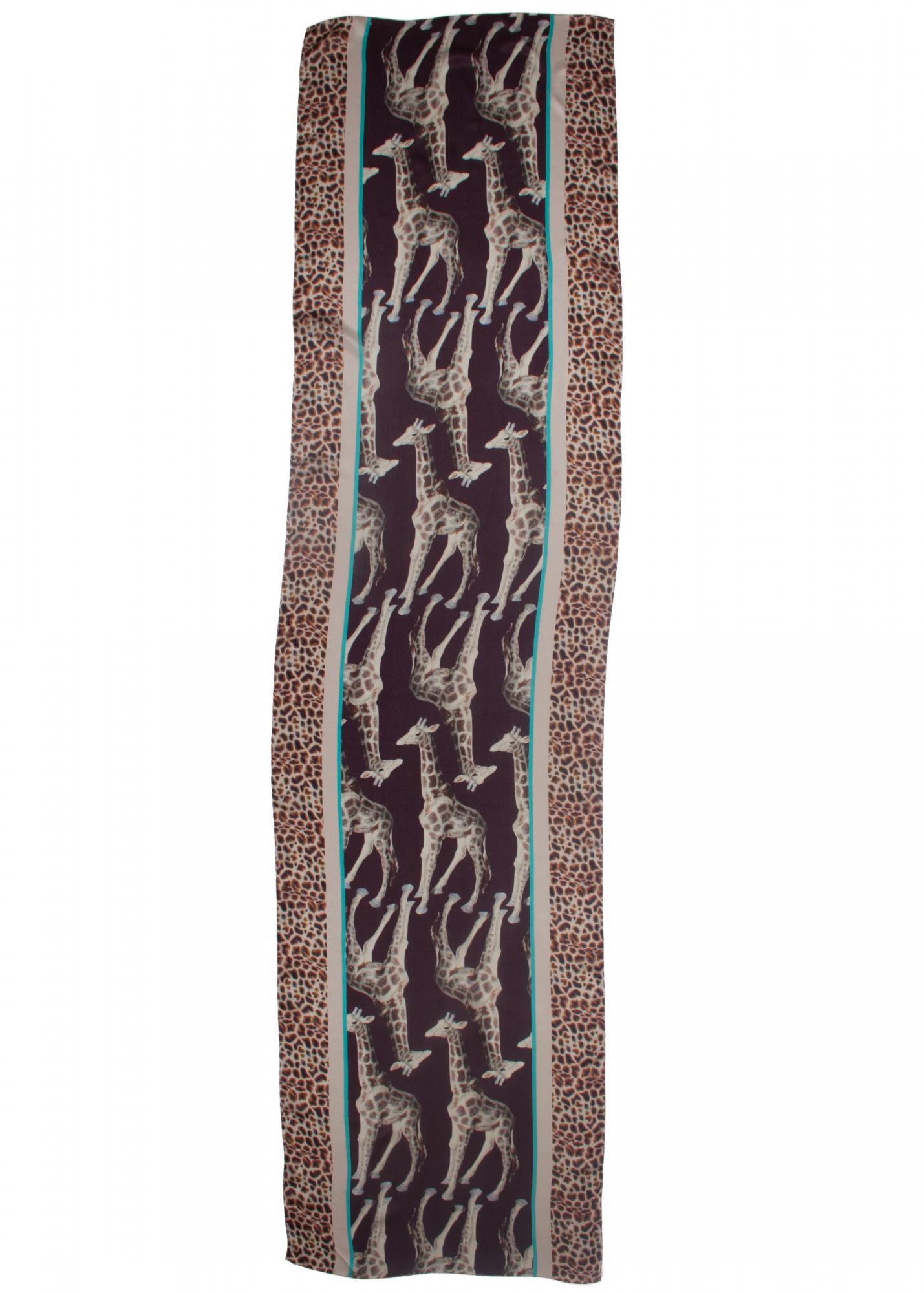 Giraffe print silk scarf