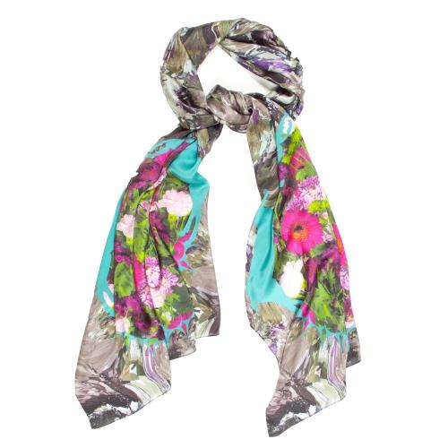 Colourful silk floral scarf