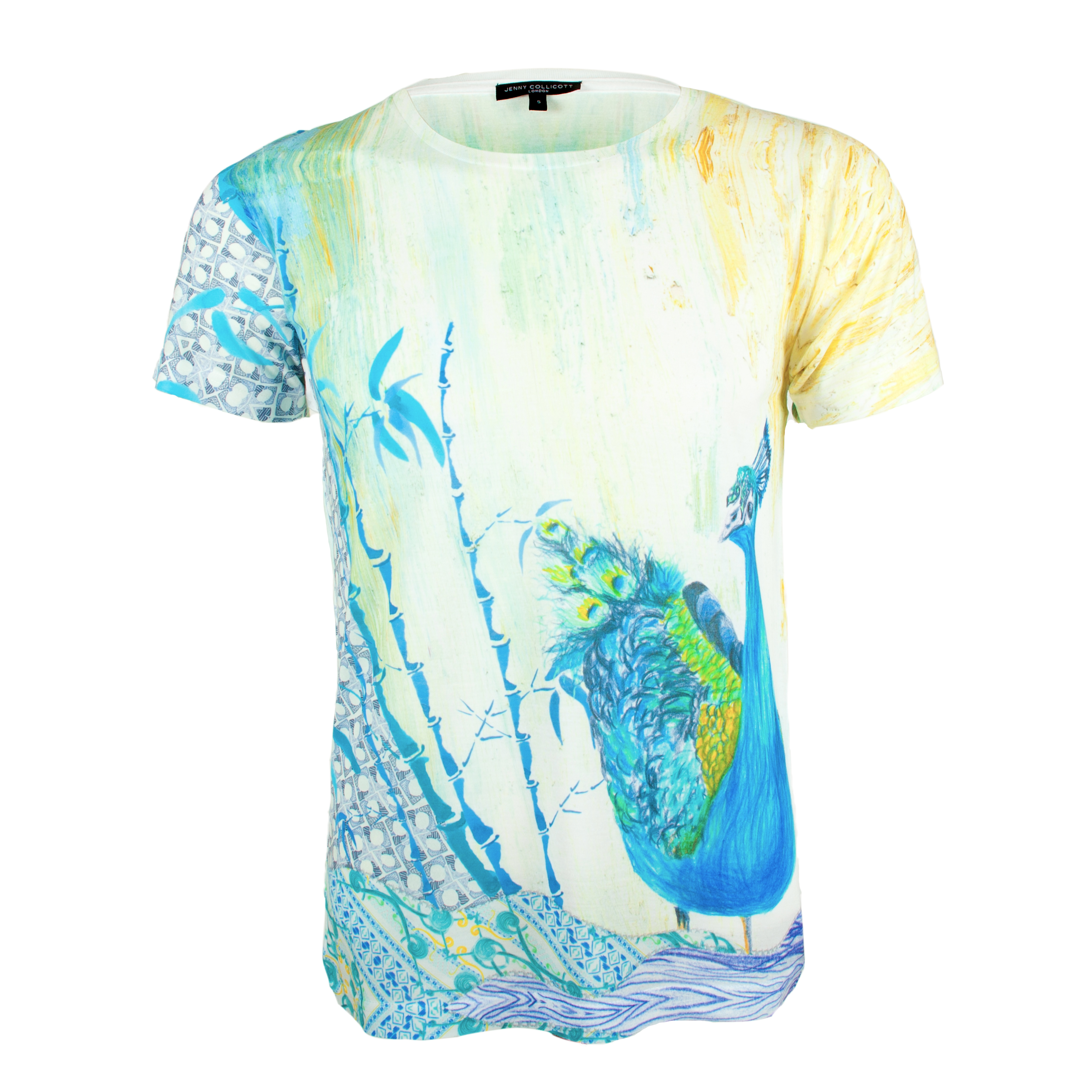 Unisex illustrated printed peacock t shirt by jenny collicott for Local t shirt printing companies