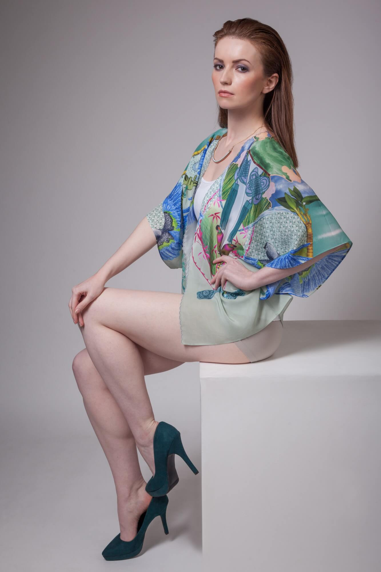Parrot Silk Kimono Blue Headed Parrot Design