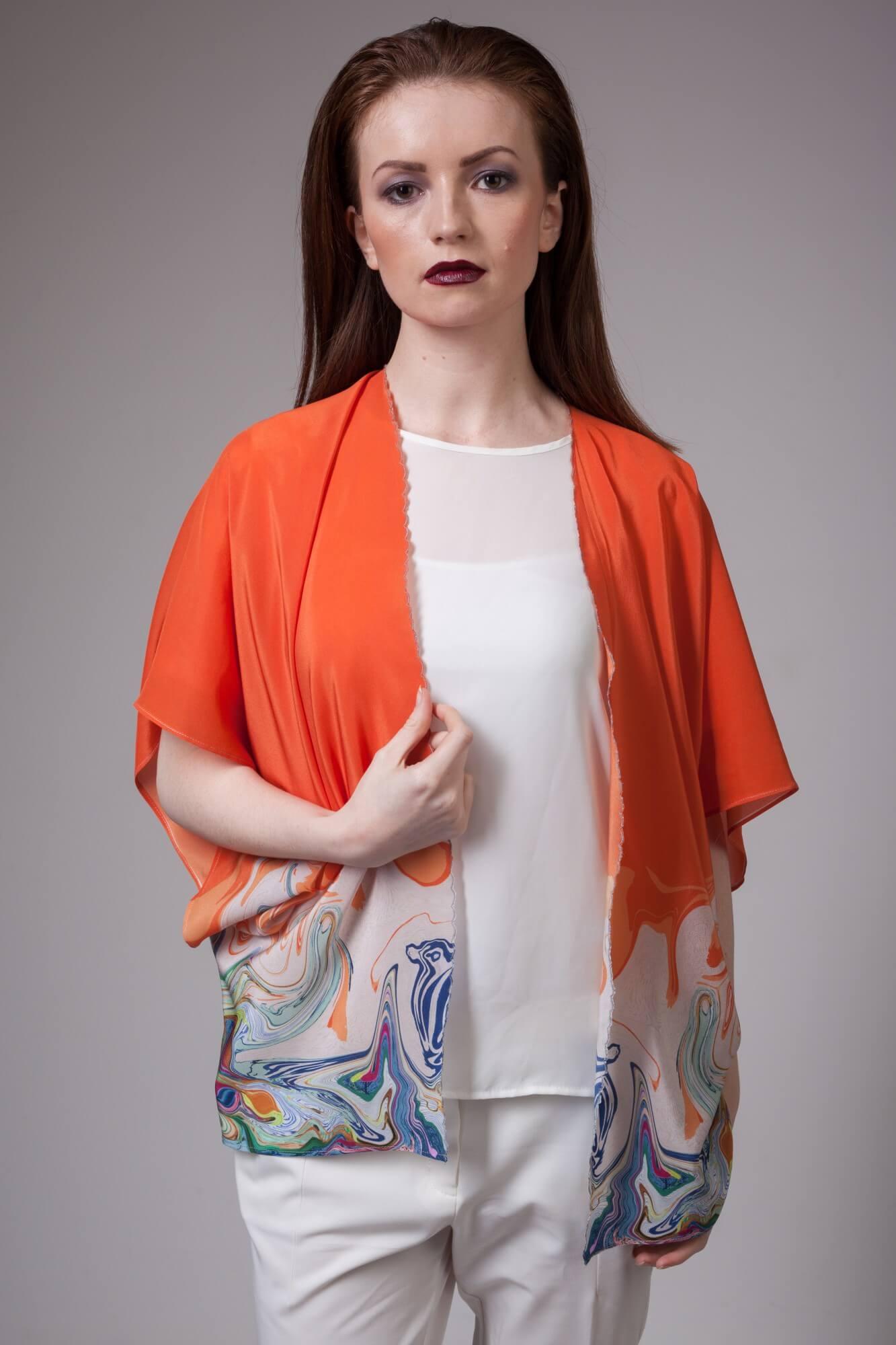 Flamingo Silk Kimono in Orange
