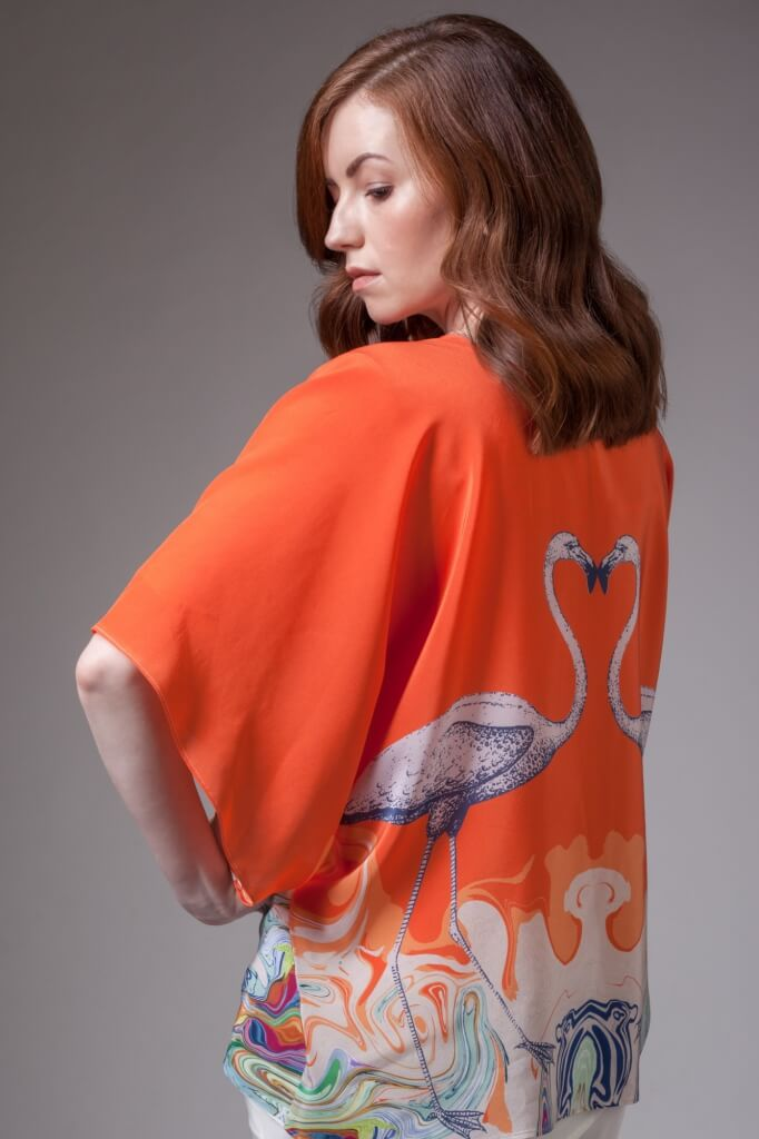 Flamingo Silk Kimono in Orange