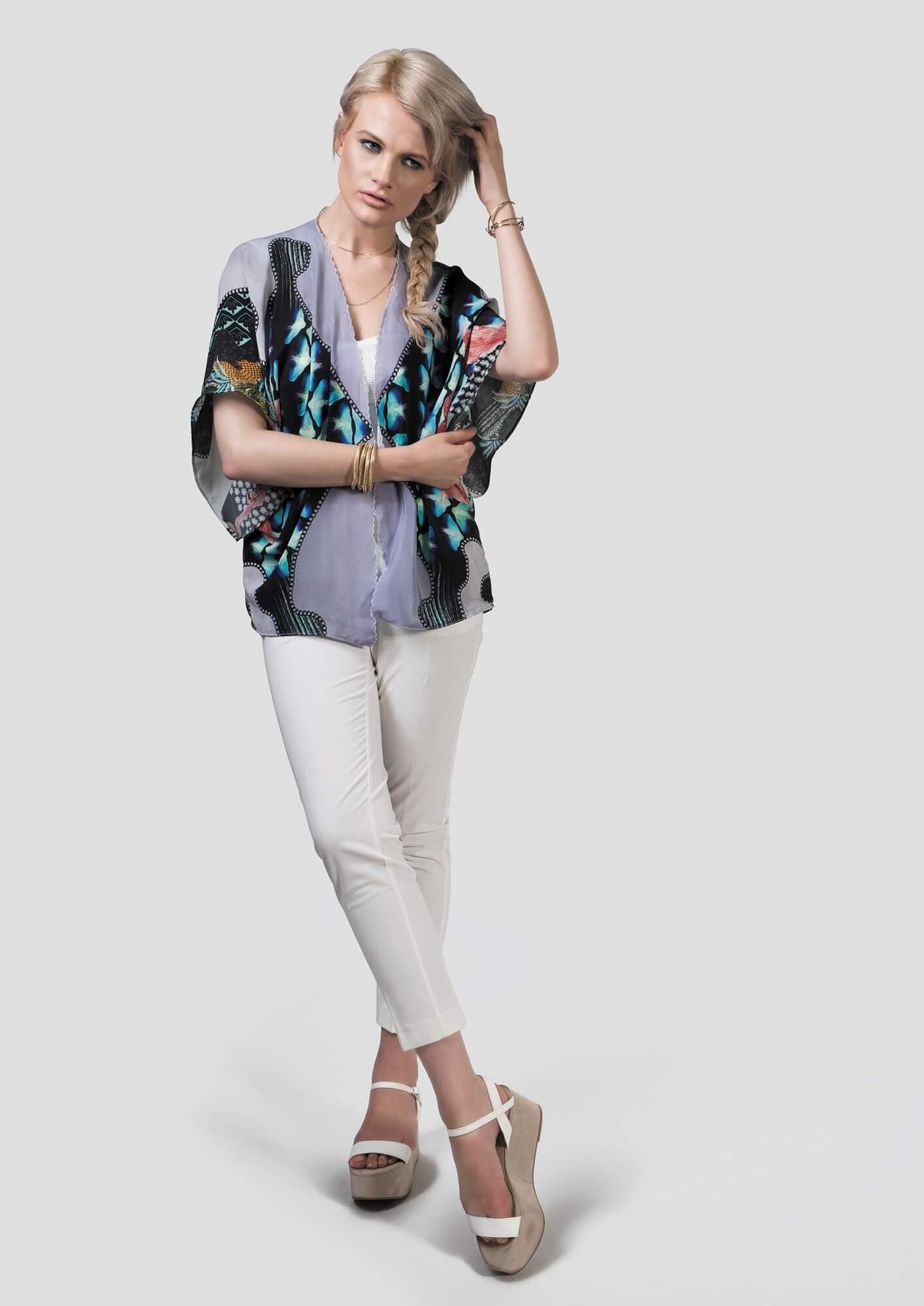 Navy Silk Kimono Deer & Chain Print | Jenny Collicott