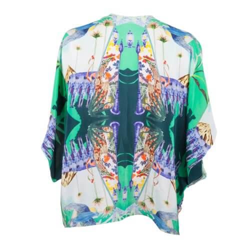 Back - Green Silk Kimono Soldier Print