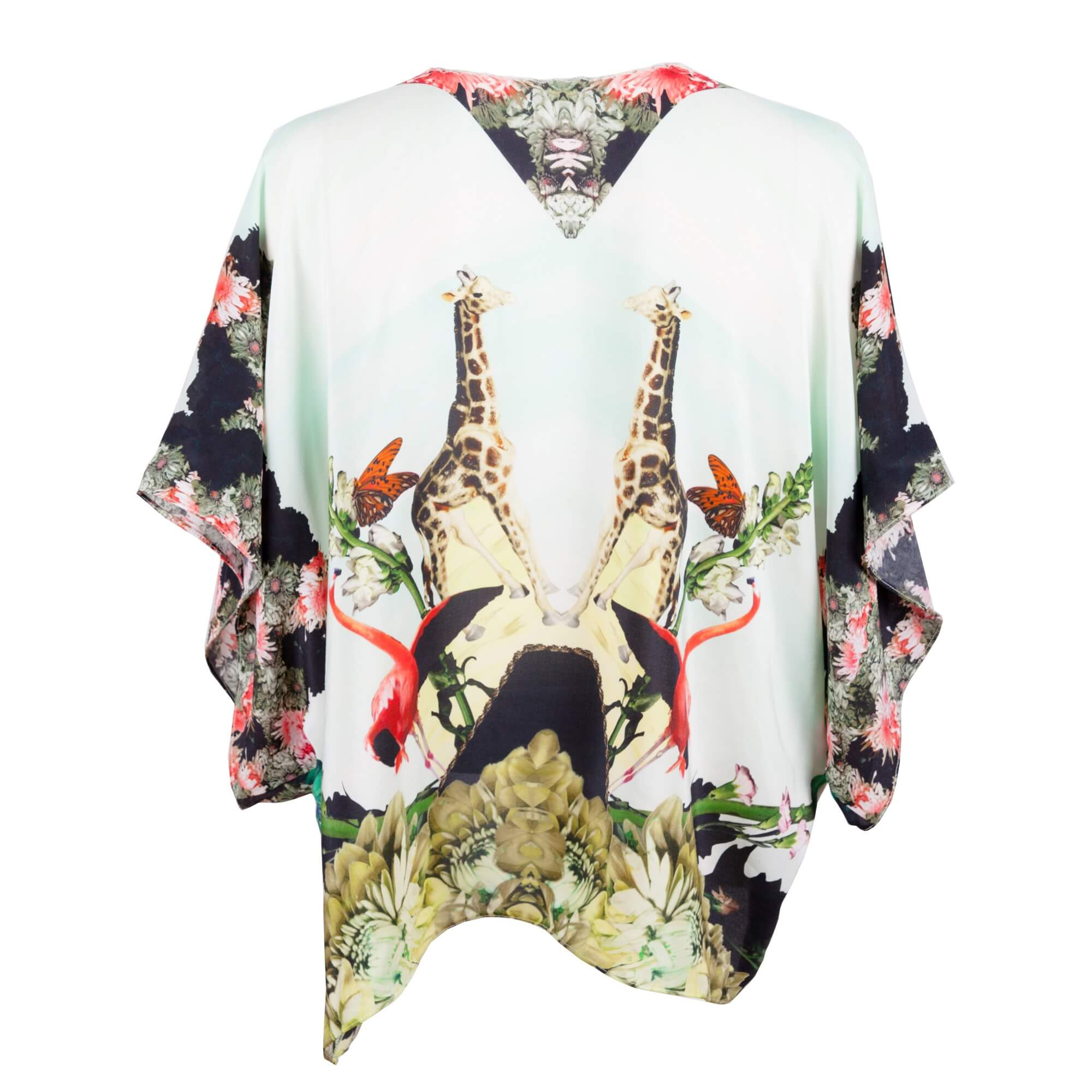 Back - Pastel Silk Kimono - Giraffe
