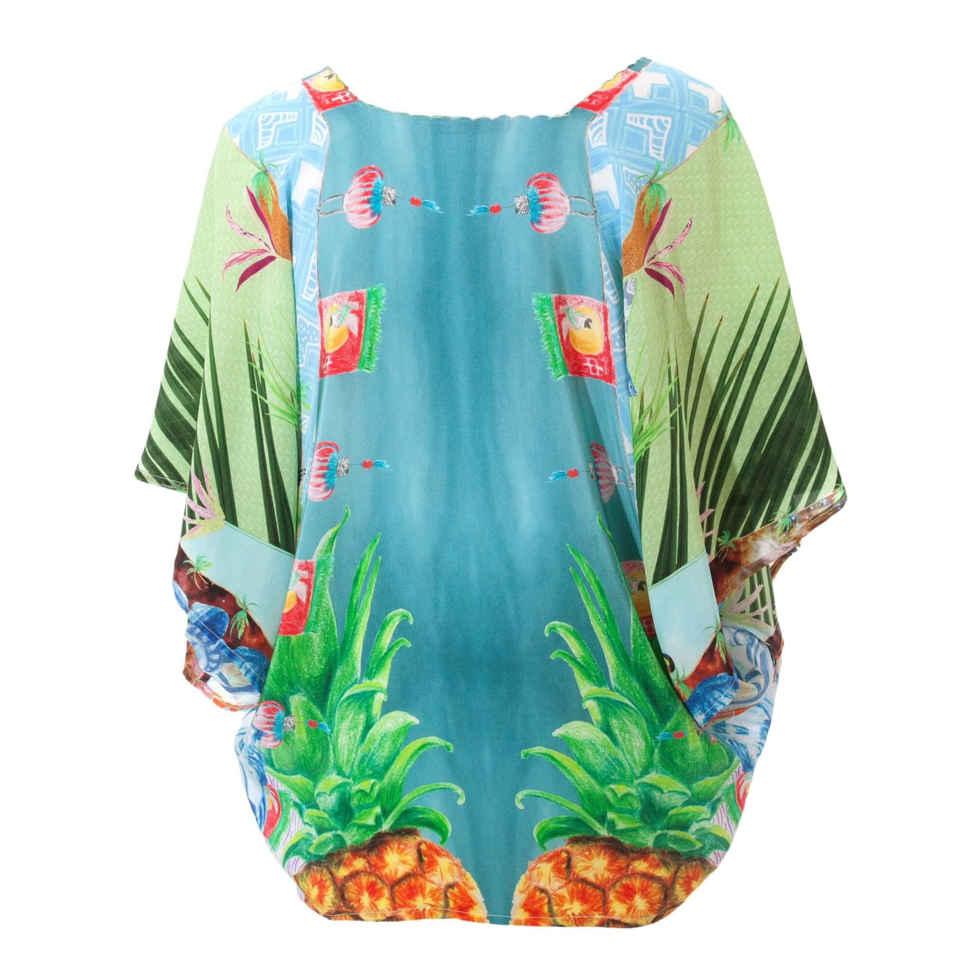 Liberty Palm Silk Kimono - Back