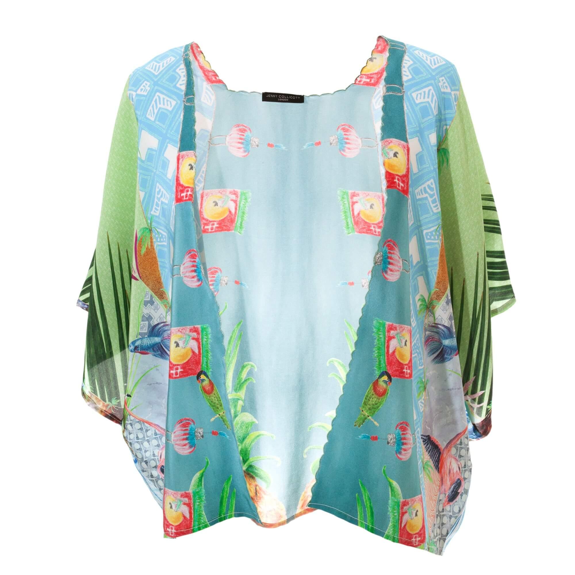 Liberty Palm Silk Kimono - Front