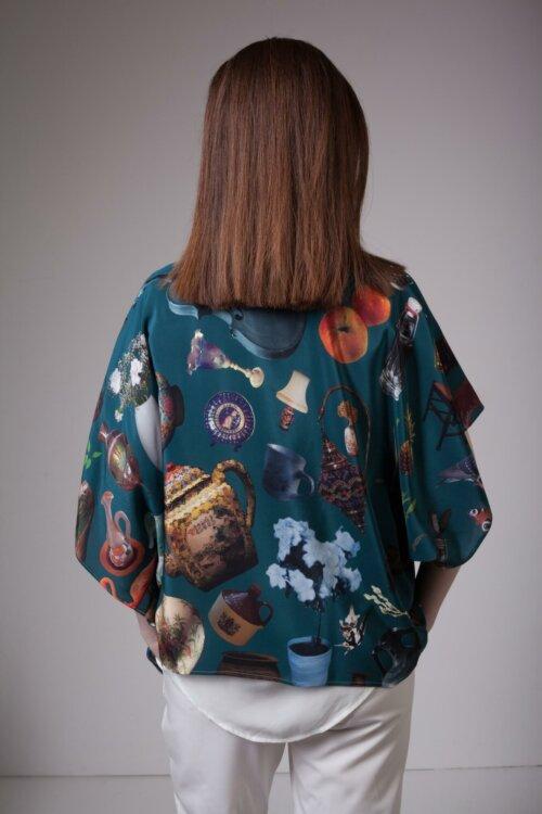 Teal Silk Kimono Coisas Print
