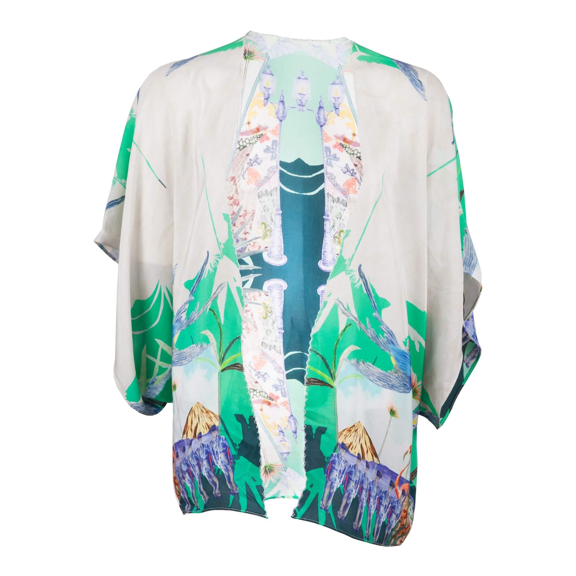 Front - Green Silk Kimono Soldier Print