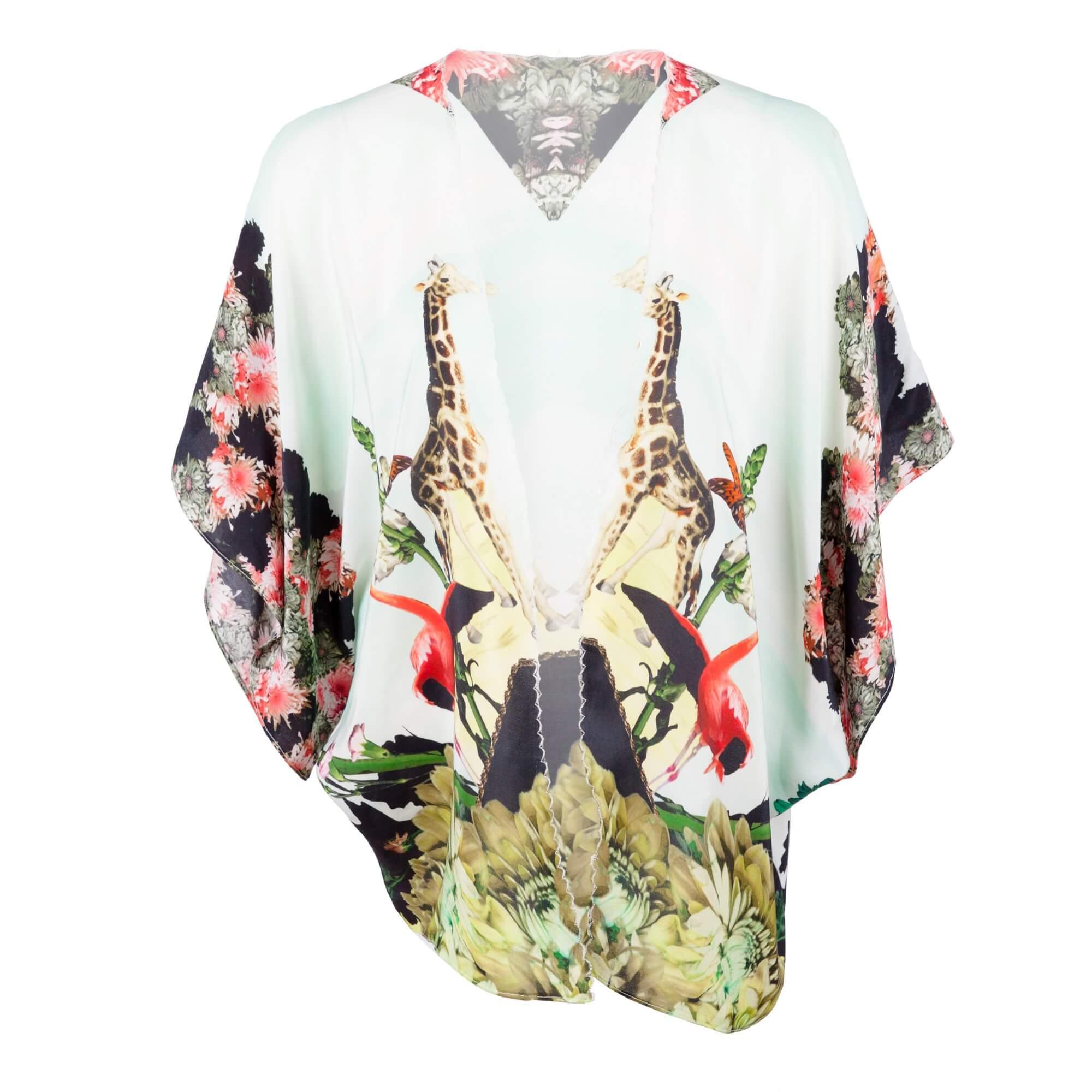 Front - Pastel Silk Kimono - Giraffe